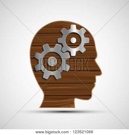 Icon metal gears in human head. Symbol of the mind. Head from a wooden planks. Stock vector illustration.