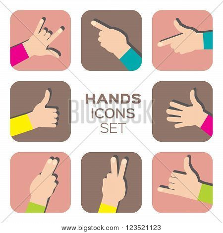 Vector set of colorful Hands flat icon