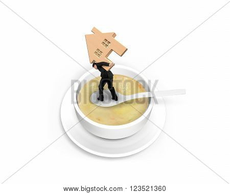 Man carrying wooden house and balancing on spoon in the soup isolated on white background.