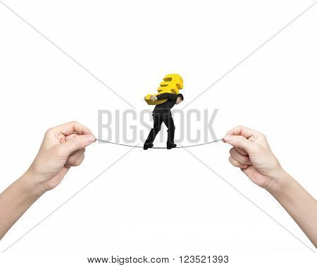 Man carrying golden Euro sign balancing on tightrope with woman hands holding two sides isolated on white.