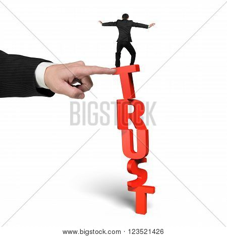 One man stopping red vertical trust word with another big man's hand helping isolated on white.