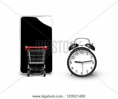 3D illustration alarm clock with small shopping cart entering smart phone of black screen isolated on white limited time shopping concept.