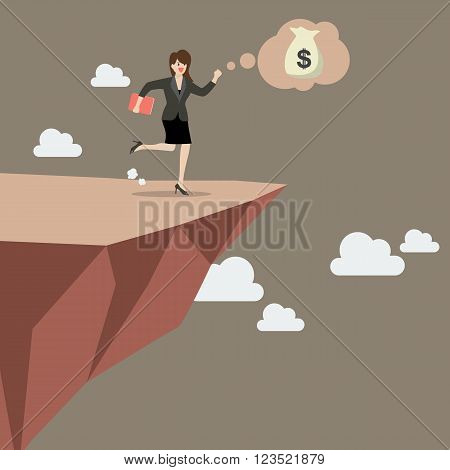Business woman takes a leap of faith on Clifftop. Vector Illustration