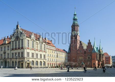 Wroclaw, Poland - Circa March 2012: Gothic Town Hall And Clock Tower In Wroclaw,  Poland