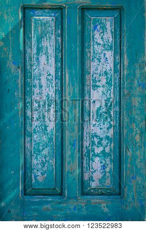 teal, weathered, door panel, rectangles, painted, beveled