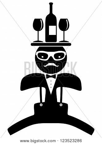 Hipster man. Bow tie. Waiter. Isolated on white background