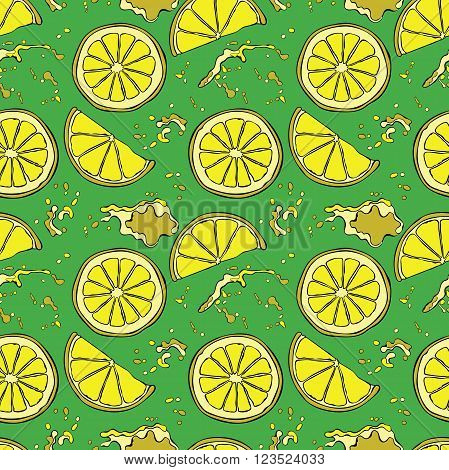 Lemon. Juicy fruit. Fruit splashes and drops. Spots juice. Vector seamless pattern (background).