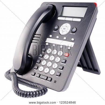Office digital multi-button telephone set with LCD isolated on the white