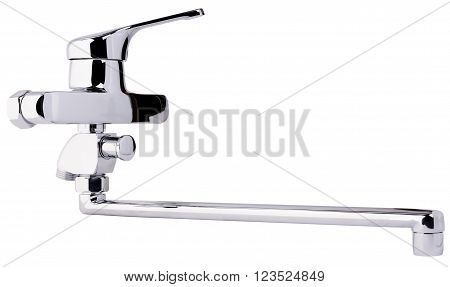 Bath room faucet side view isolated on the white
