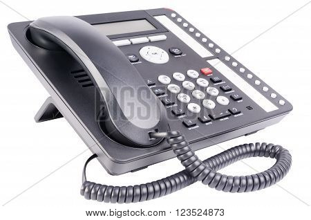 Office IP telephone set with LCD isolated on the white background