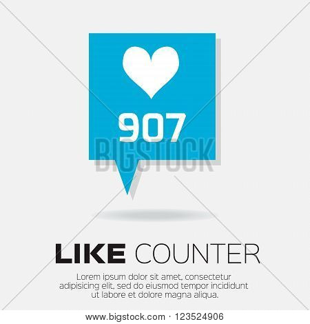 Notification Icons. Like Counter Set. Love like - Buttons with counter on ribbons and labels Network and communication web and internet design. Vector illustration
