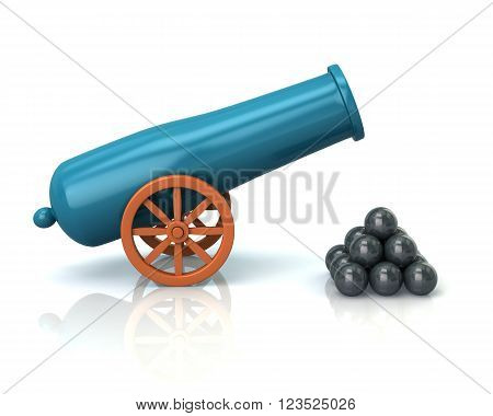 Illustration of old cannon isolated on white background