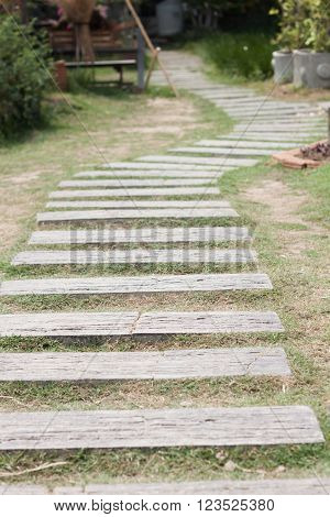Garden stone path with grass, stock photo