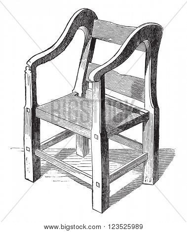 Ariosto chair preserves in Ferrara, vintage engraved illustration. Magasin Pittoresque 1869.
