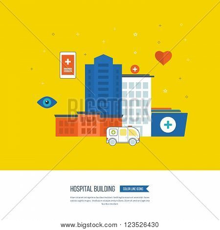Vector illustration concept for healthcare, medical help and research. Medical first aid. Hospital building and medical center. Ambulance.