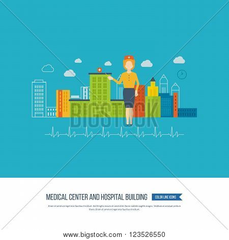 Vector illustration concept for healthcare, medical help and research. Medical first aid. Healthcare worker. Hospital building and medical builfing