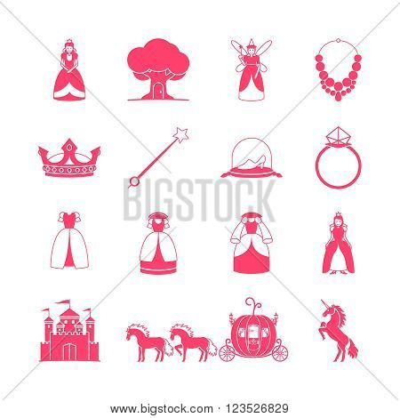 Princess icon set. Princess fairytale items. Vector illustration