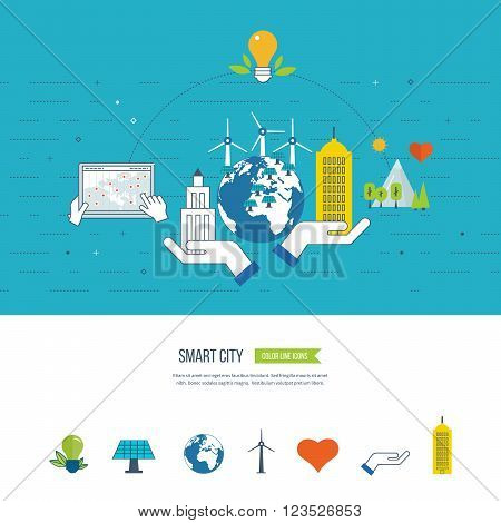 Green eco city, ecology and eco-friendly city concept. Smart city. City buiding and urban landscape. Color line icons