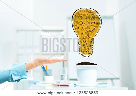 Hand of business person pointing at plan for income growth