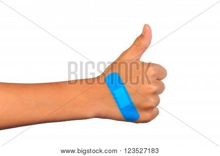 Hand making sign putting adhesive bandage or plaster.  isolated on white.
