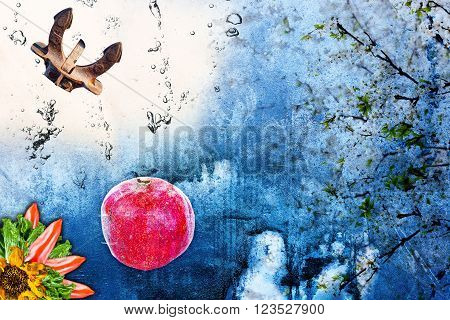 Abstract neo post punk japanese avantgarde background Collage from anchor, pomegranate, flowers water bubbles and vegetables