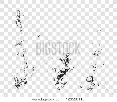 Three sample of vectorized Soap Water Bubbles. Transparent Isolated Realistic Design Elements. Can be used with any Background.