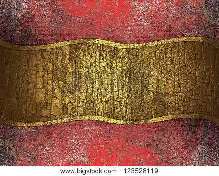 Old grunge red background with yellowl plate. Template for design. copy space for ad brochure or announcement invitation, abstract background.