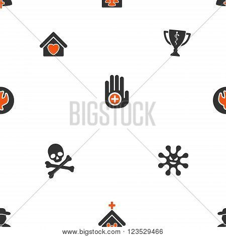 Soul and Death vector repeatable pattern. Style is flat orange and gray icon symbols on a white background.