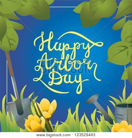 Happy arbor day calligraphy handlettering postcard