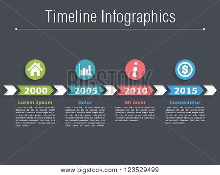 Timeline infographics design with arrows, workflow or process diagram, flowchart, vector eps10 illustration