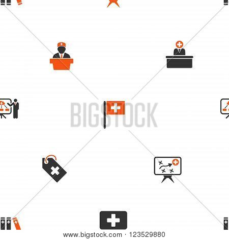 Medical Strategy vector repeatable pattern. Style is flat orange and gray icon symbols on a white background.