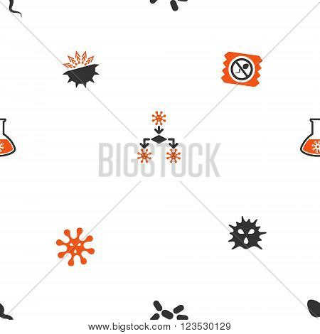 Microbes vector repeatable pattern. Style is flat orange and gray icon symbols on a white background.
