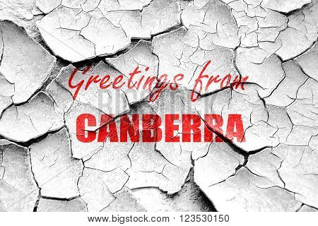 Grunge cracked Greetings from canberra with some smooth lines