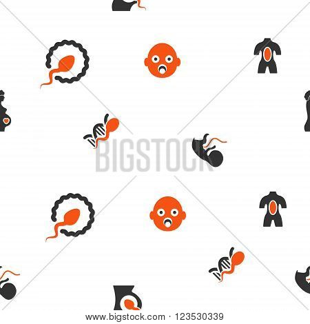Pregnancy vector repeatable pattern. Style is flat orange and gray icon symbols on a white background.