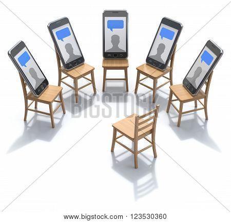 Internet addiction treatment concept with smartphones - 3D illustration