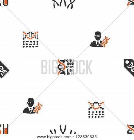 Genetic Science vector repeatable pattern. Style is flat orange and gray icon symbols on a white background.