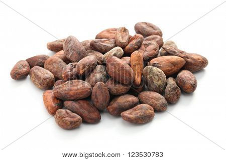 raw cacao cocoa beans on white background