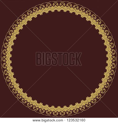 Oriental vector round golden frame with arabesques and floral elements. Floral fine border. Greeting card with place for text