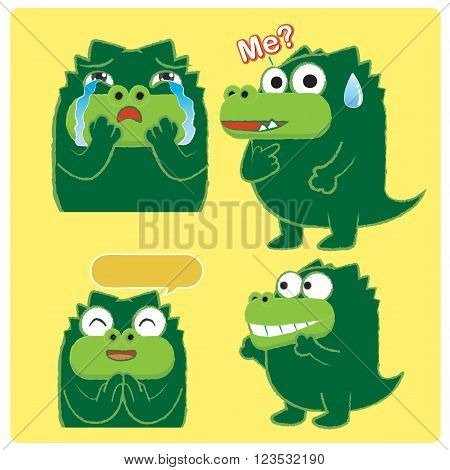 Emotion of alligator , sad crocodile , smiling crocodile