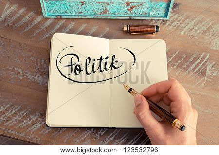 "Handwritten Text In German ""politik""  - Translation : Politics"