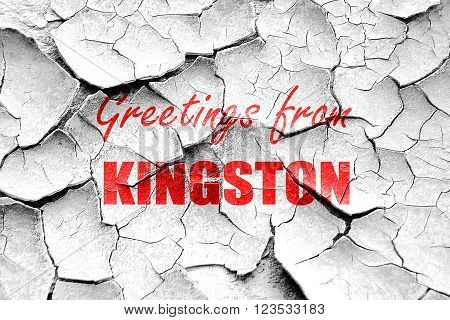 Grunge cracked Greetings from kingston with some smooth lines