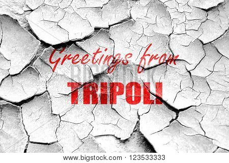 Grunge cracked Greetings from tripoli with some smooth lines