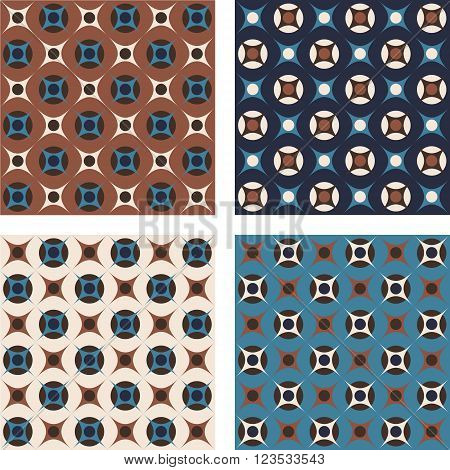 Retro abstract geometric pattern with circles and star shapes in brown and teal colors. Vector seamless background.