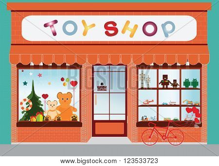 Toy shop window display exterior building kids toys vector illustration.