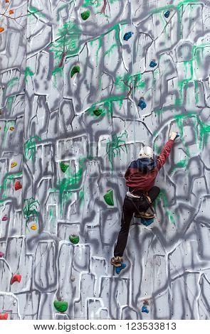 Boy Climber On A Wall
