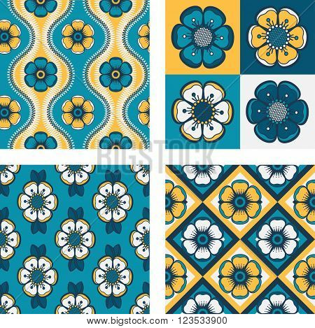 Set of four geometrical pattern with abstract flowers seamless vector backgrounds. For fashion textile cloth backgrounds. Retro colors - yellow teal brown.