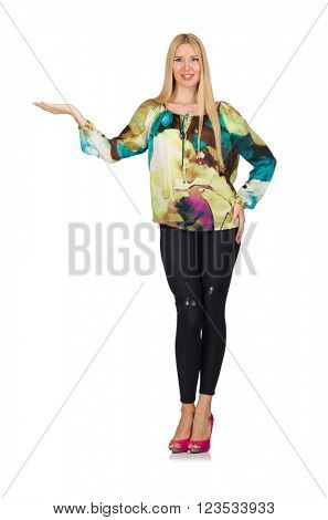Tall model in green blouse isolated on white