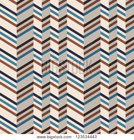 Fashion zigzag pattern in brown and teal retro colors. Seamless chevron pattern. Vector background