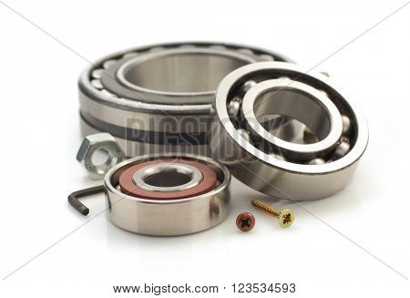 bearings and  tool isolated on white background