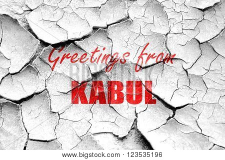 Grunge cracked Greetings from kabul with some smooth lines